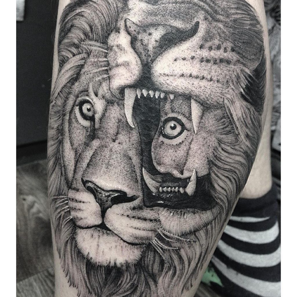 101 lion lioness tattoo ideas designs authoritytattoo an imaginative and abstract throw on the classic lion portrait tattoo buycottarizona Gallery