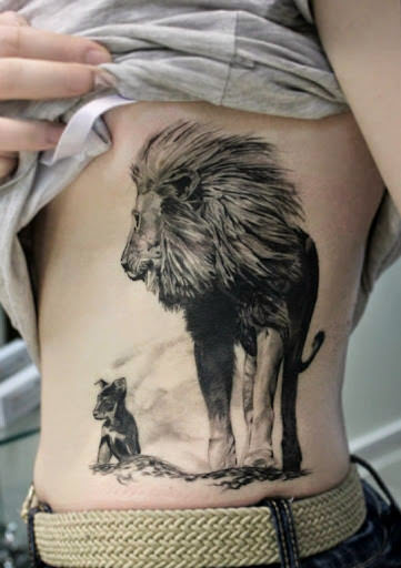 101 lion lioness tattoo ideas designs authoritytattoo for Lion and cub tattoo