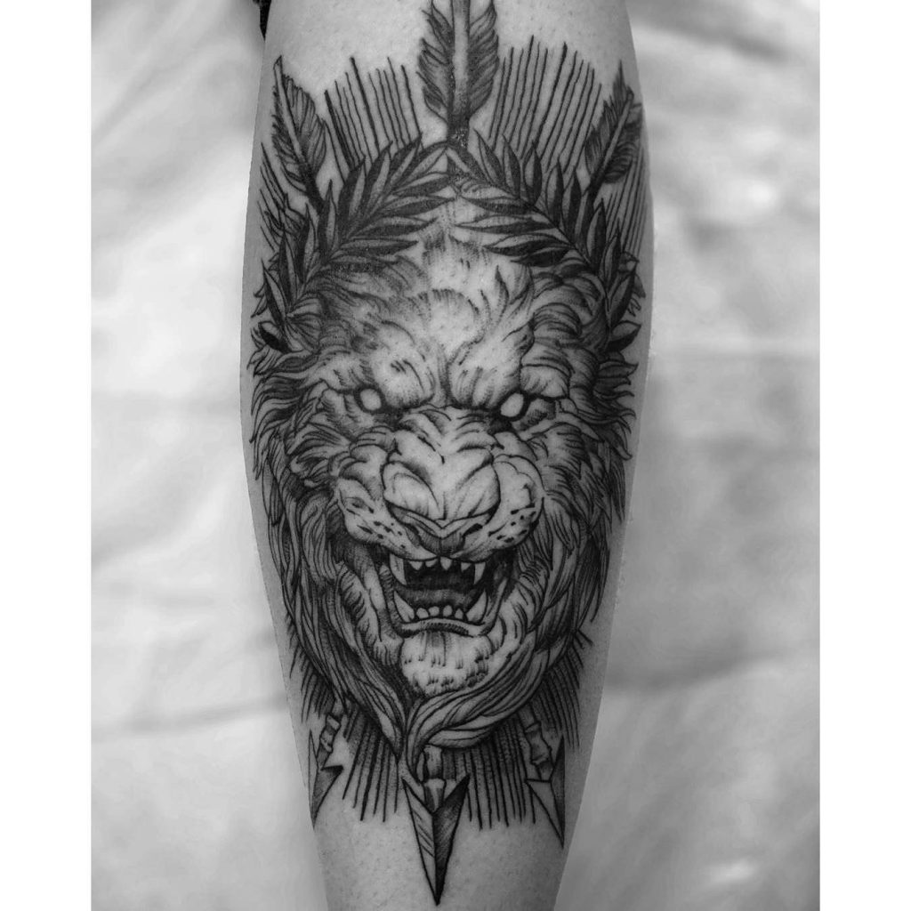 Lion tattoo with flowers flowers ideas for review for Tattoo shops topeka ks