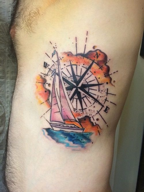 101 hand picked compass nautical tattoo design ideas for How much does a tattoo gun cost