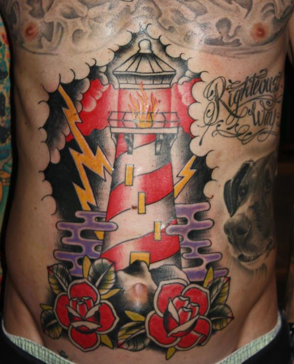 101 bright shining lighthouse tattoo design ideas authoritytattoo. Black Bedroom Furniture Sets. Home Design Ideas