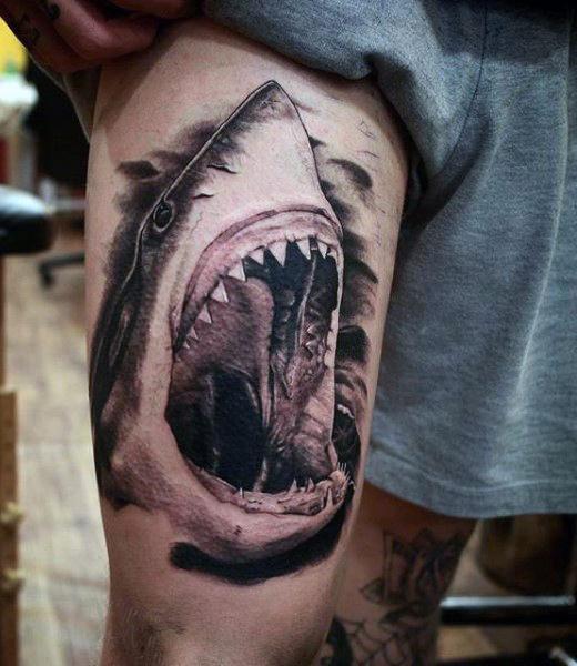shark attack 101 of the best shark tattoo design ideas authoritytattoo. Black Bedroom Furniture Sets. Home Design Ideas