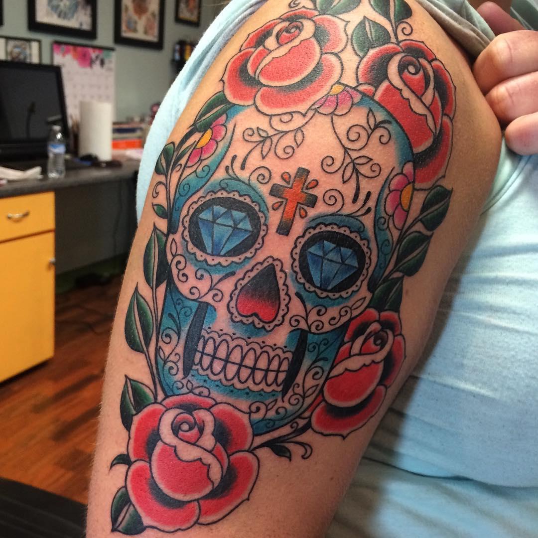 101 best sugar skull tattoo design ideas spooky sweet authoritytattoo. Black Bedroom Furniture Sets. Home Design Ideas