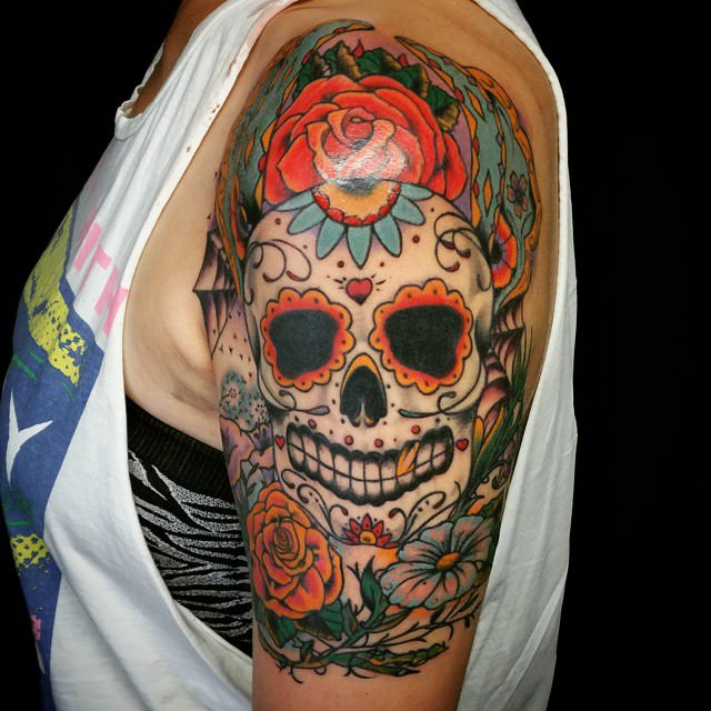 101 best sugar skull tattoo design ideas spooky sweet for How much does a tattoo gun cost